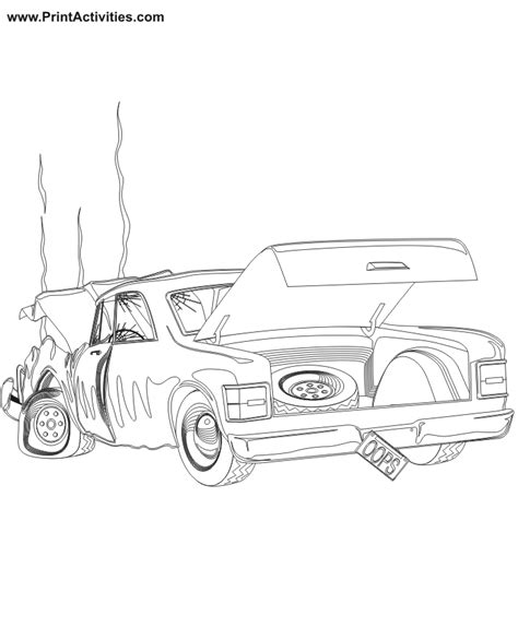 wrecked car drawing car coloring pages