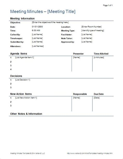 meeting minutes template word creative photo roberts rules formal