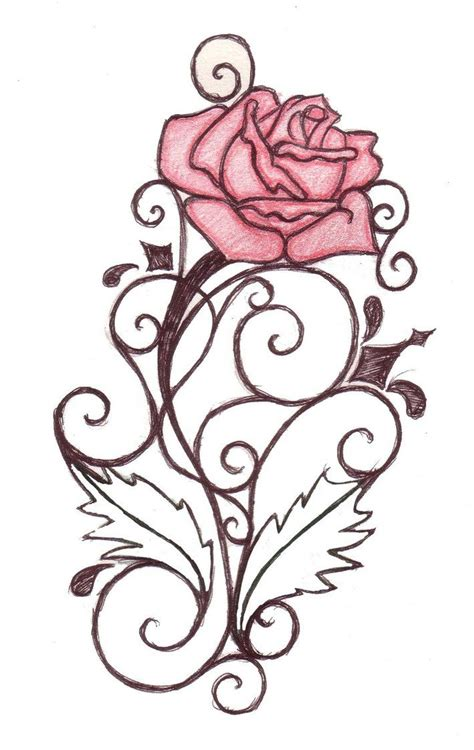 rose drawing tattoo tattoos swirl design by natzs101 on