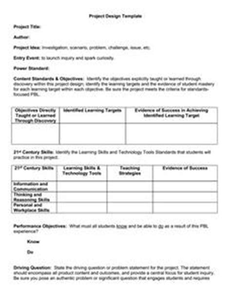 project based learning template 1st 12th grade