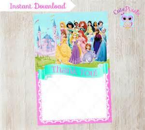 disney princess blank thank you card princess by cutepixels caroline s birthday