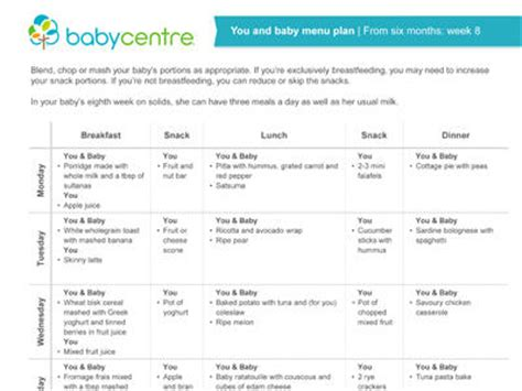 printable meal planner for baby mum and baby recipes week eight babycentre