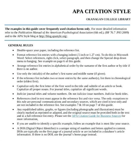 exle of sources cited in apa format