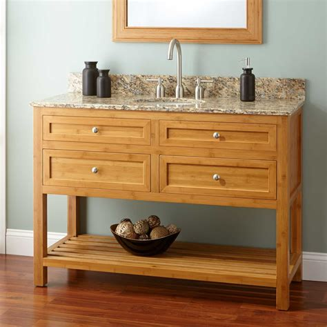 narrow bathroom sinks and vanities 48 quot narrow depth thayer bamboo vanity for undermount sink