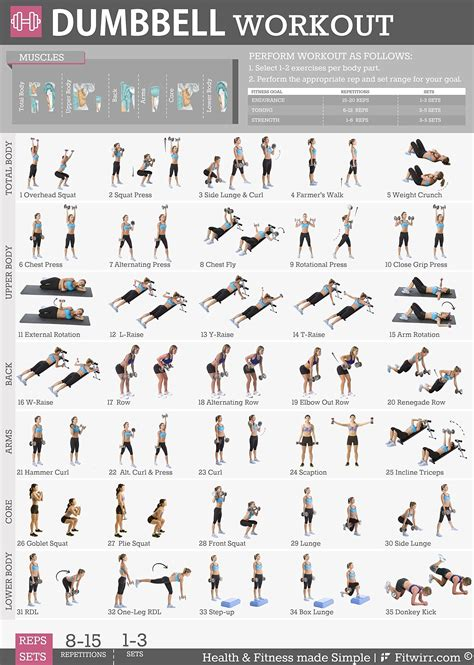 printable fitness poster fitwirr s 5 workout posters pack 19x27 dumbbell exercises