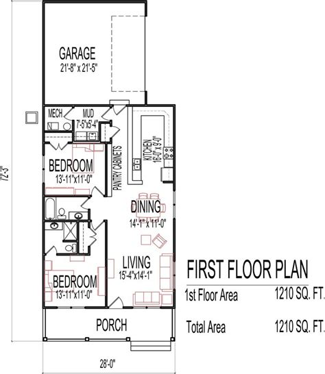 one floor home plans small low cost economical 2 bedroom 2 bath 1200 sq ft