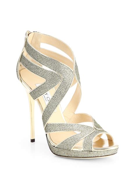 jimmy choo platform sandals jimmy choo collar glitter lam 201 platform sandals in silver