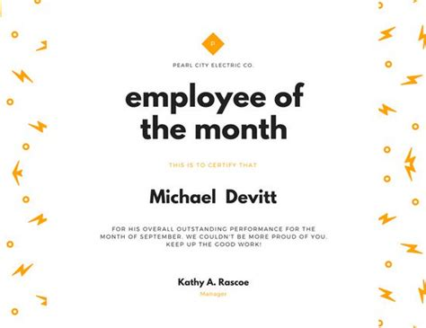Customize 1 510 Employee Of The Month Certificate Templates Online Canva Employee Of The Month Program Template