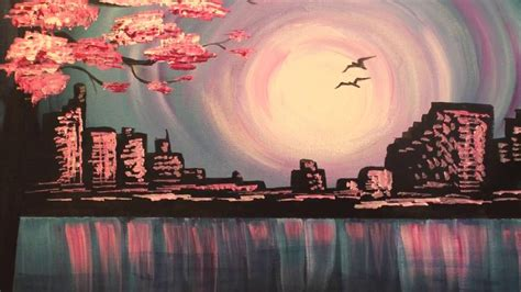 easy acrylic painting ideas for beginners tutorial evening skyline fast easy acrylic painting tutorial for