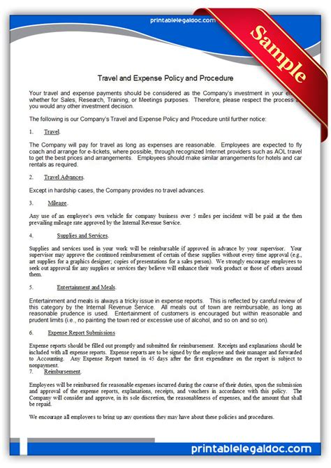 Free Printable Travel And Expense Policy And Procedure Form Generic Travel And Expense Policy Template