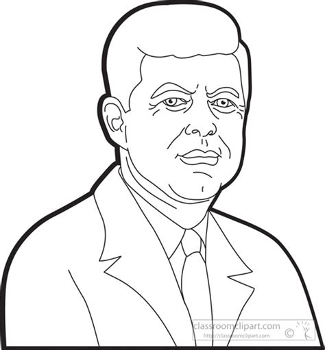 Presidents Of The United States Clipart President John F Kennedy Clipart Outline Classroom Template Jfk