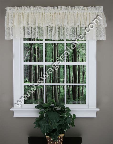 priscilla layered valance ivory lorraine kitchen