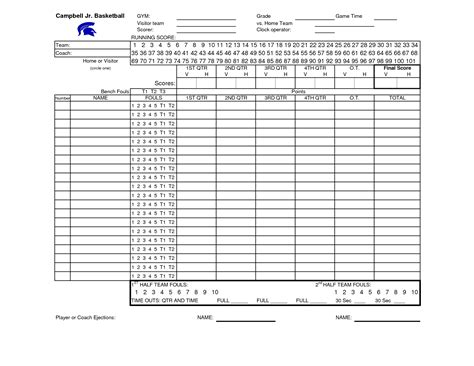 basketball score sheet excel free basketball scores