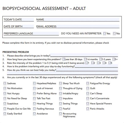 biopsychosocial assessment template sle biopsychosocial assessment 8 documents in pdf