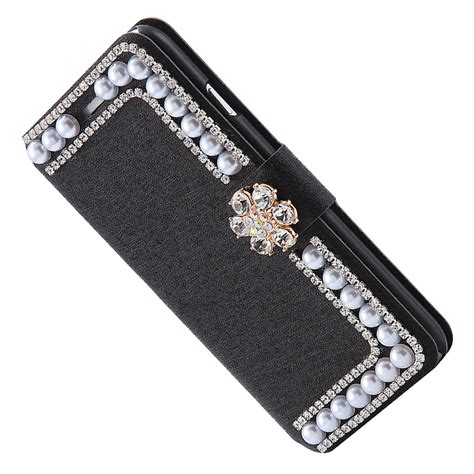 Bling Casse bling rhinestone pearl wallet flip cover iphone 6 6s plus ebay