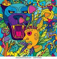 Psychedelic Magic Mushroom Hallucination Jungle Seamless Pattern