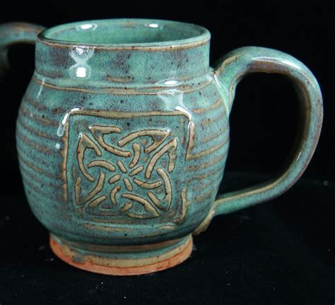 Handmade Pottery - green celtic mug handmade pottery