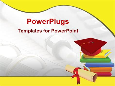 Powerpoint Template Graduation Cap On Stack Of Books Diploma Pen And Notebook Background Graduation Powerpoint Template