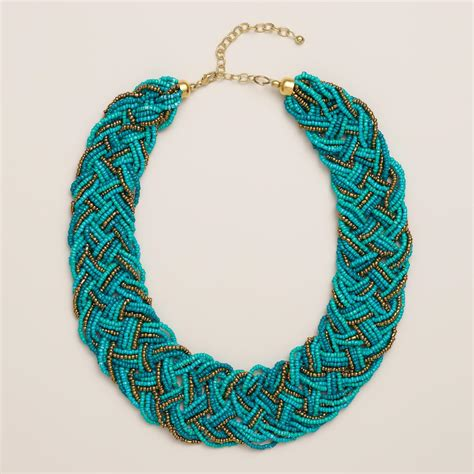 beaded braided necklace turquoise and gold braided seed bead necklace world market