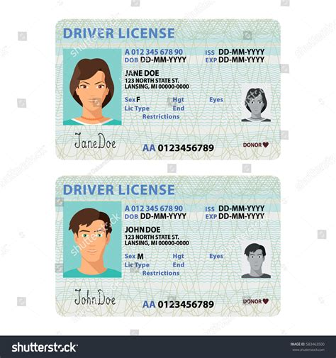 drive id card template vector driver license plastic stock vector