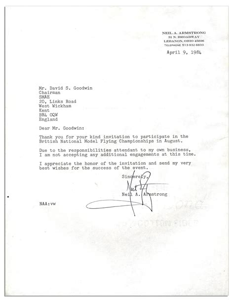 lot detail neil armstrong typed letter signed thank you for your invitation to