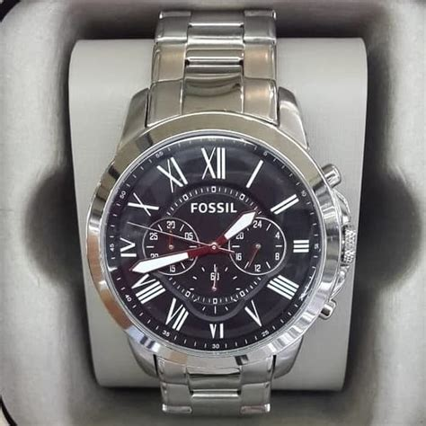 jam tangan pria fossil fs  rantai silver original