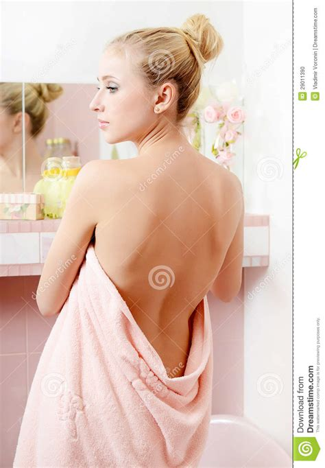 bathroom blonde the beautiful woman in a bathroom stock photo image