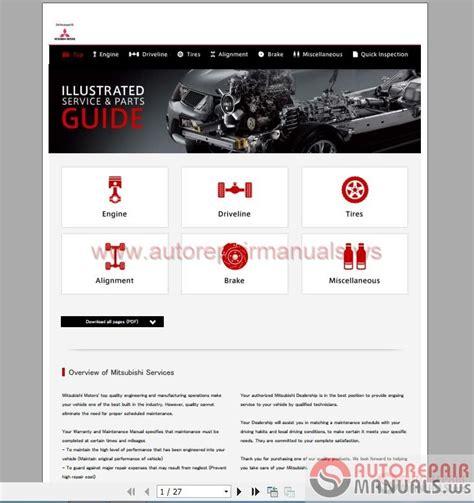 mitsubishi services mitsubishi illustrated service parts guide auto repair