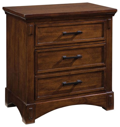 Medium Oak Nightstand standard furniture artisan loft 3 drawer nightstand in