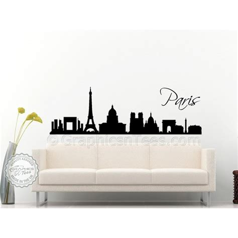 skyline home decor paris skyline silhouette wall sticker home mural decor decal