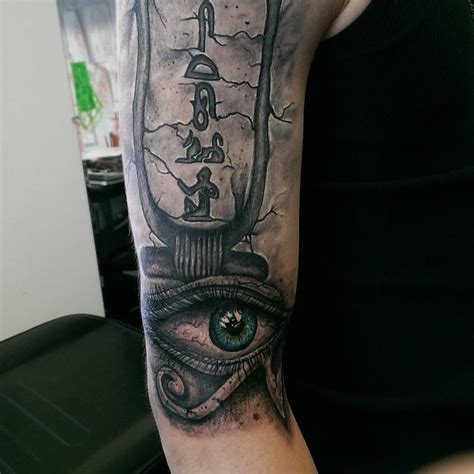 cartouche tattoo designs black and gray cartouche and eye of horus by
