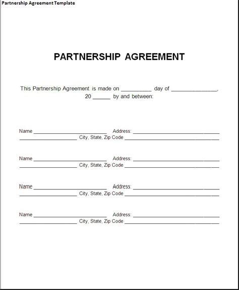partnership agreement template word excel pdf