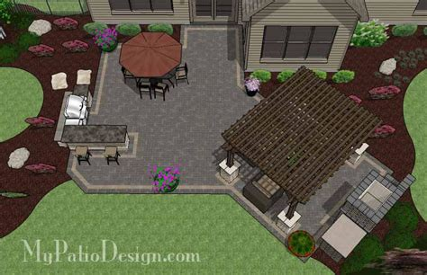 rear patio designs large brick patio design with grill station bar