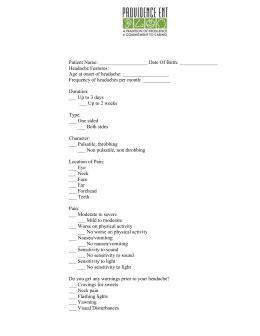headache questionnaire