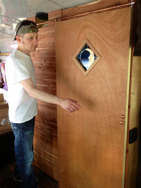 Solid Wood Interior Doors Home Depot diy sliding barn style door for our bus rv conversion