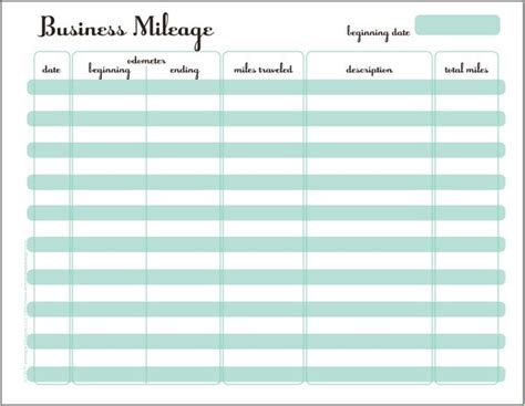 mileage tracking template mileage tracker printable planner printables ideas