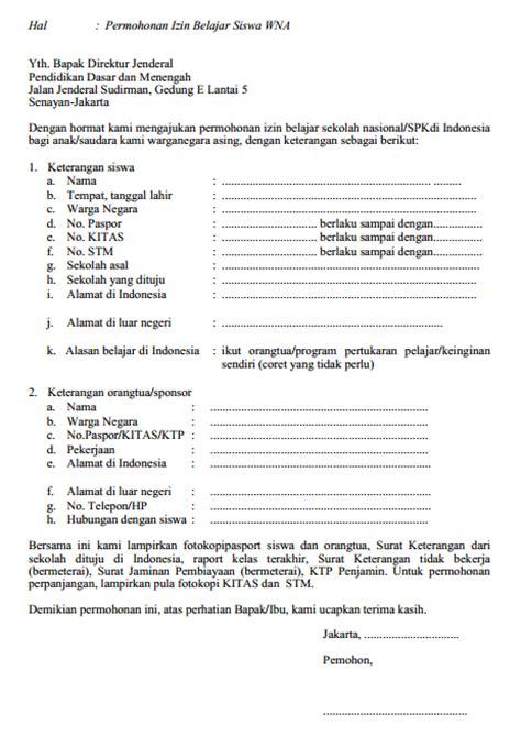 tata cara permohonan izin belajar di indonesia bagi wna