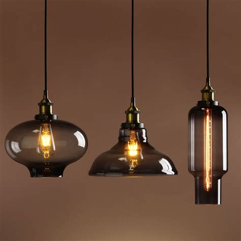 Industrial Glass Pendant Lights Retro Vintage Industrial Smokey Glass Shade Loft Pendant Light Ceiling L Vintage Industrial