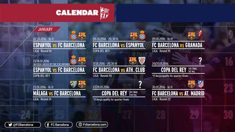 Calendrier Fc Barcelone Programme Charg 233 Pour Le Fc Barcelone En Janvier Avec La