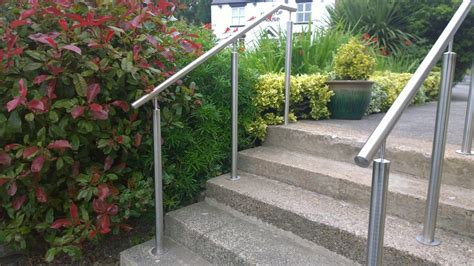 Stainless steel handrails on posts