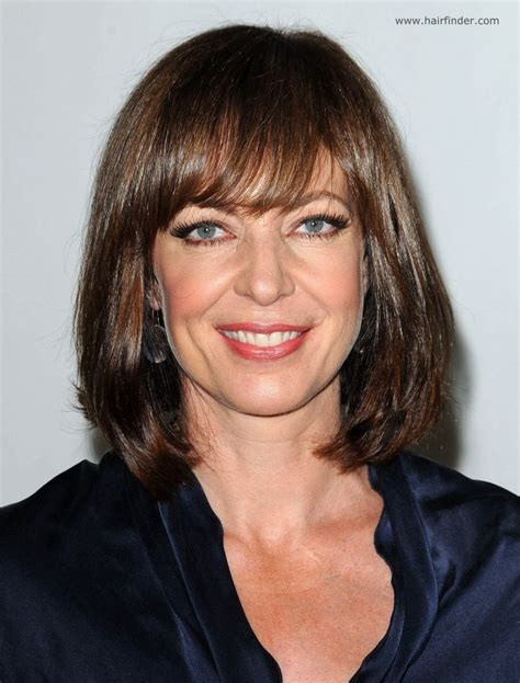 bangs on 50 year old bob how to update look allison janney long bob hairstyle or lob for a woman