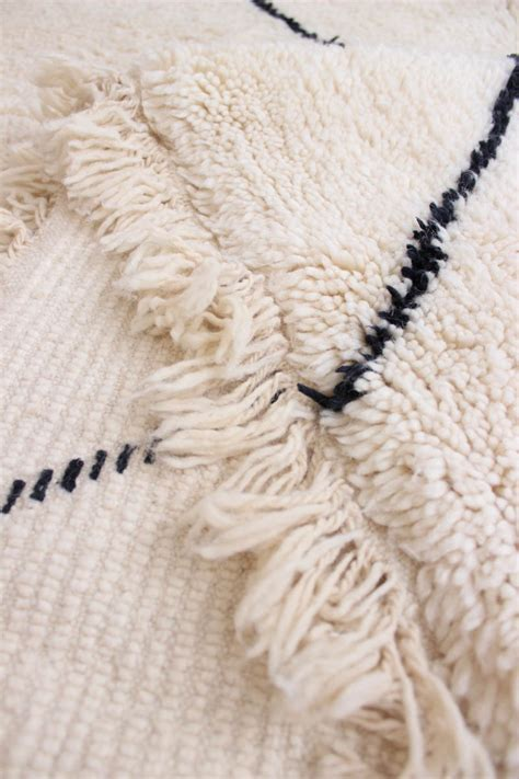 white rug with black lines white beni ourain rug made to order carpet from morocco baba souk