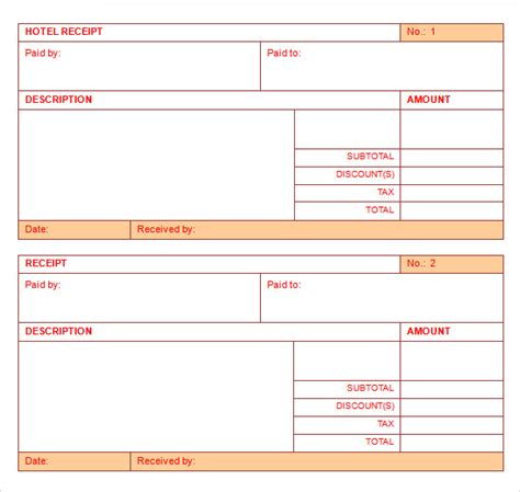 lodging receipt template hotel receipt template 9 free for pdf word