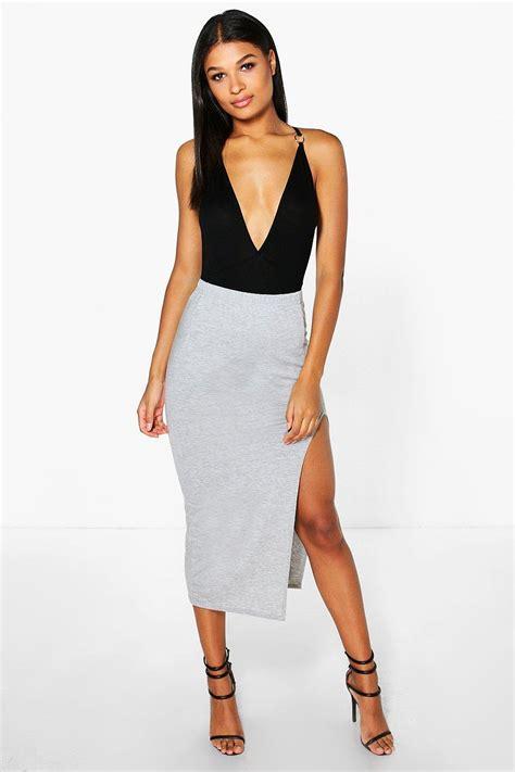 boohoo womens chelsie side split midi skirt ebay