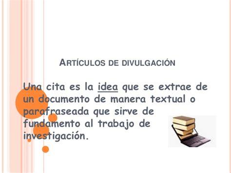 articulos de divulgacion cientifica citas para articulos de divulgacion