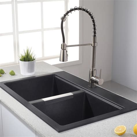 Kraus Kitchen Faucet by Kraus 33 1 2 Inch Dual Mount 50 50 Double Bowl Black Onyx Granite Kitchen Sink 16087368