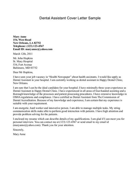 Dental Assistant Cover Letter For Resume dental assistant cover letter sle sle cover letters