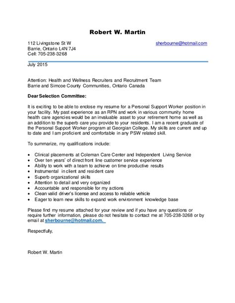 cover letter for support worker psw cover letter sle best letter sle