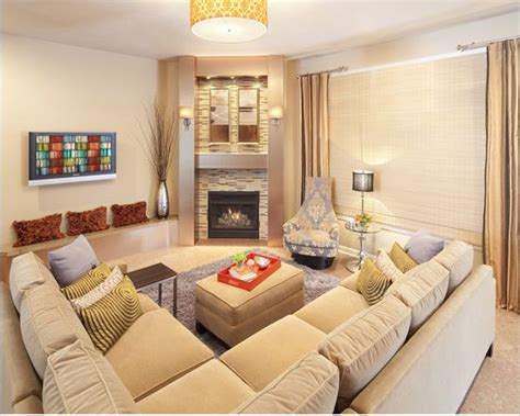 Family Room With Sectional And Fireplace | corner fireplace sectional placement living room
