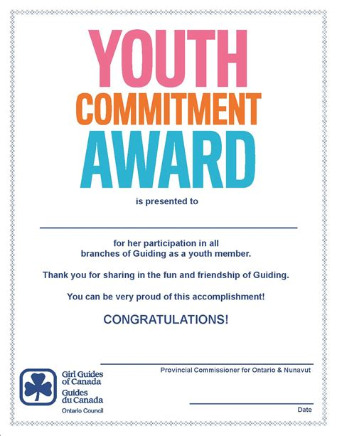 Commitment Letter For Volunteers awards and recognition process